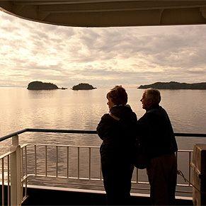 couple aboard a ferry.