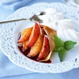Buttered Crepes with Caramel Ontario Peaches