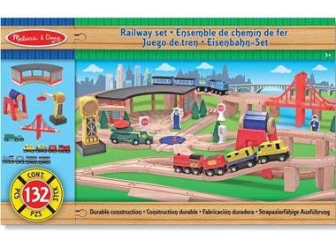 Melissa & Doug Deluxe Wooden Railway Set