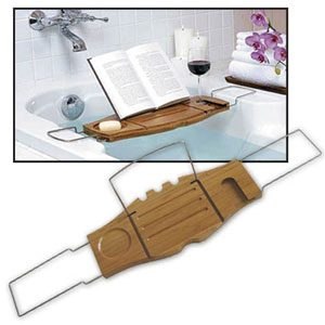 Bamboo and Chrome Bathtub Caddy (bilingual)