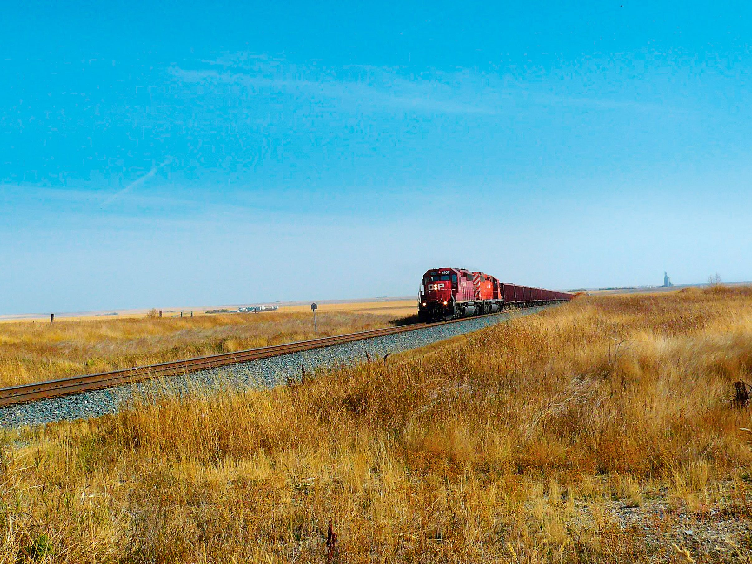Train spotting in Herbert, Sask.