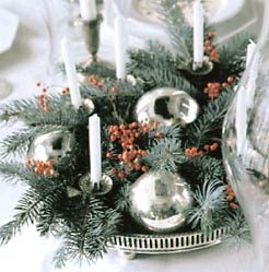 Christmas Ball And Candle Centerpiece