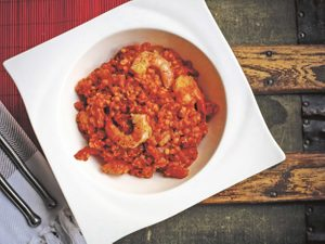 Curried Red Lentils with Shrimp
