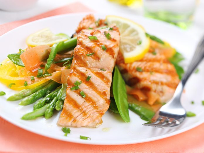 Grilled salmon lunch