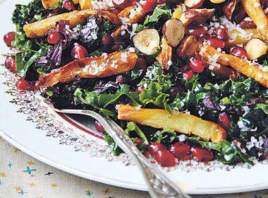 Kale, Pomegranate and Caramelized Parsnip Salad