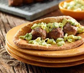 Meatball Kebabs with Avocado Tzatziki