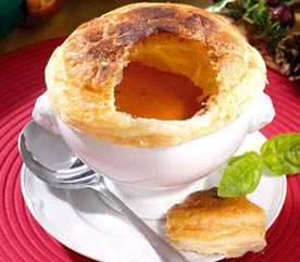 Pastry-Crowned Tomato Soup