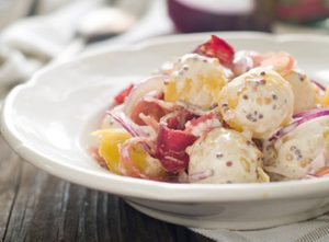 Three-Potato Salad with Bacon