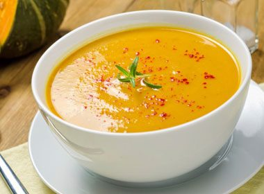 Roasted Squash and Garlic Soup With Beet Splash