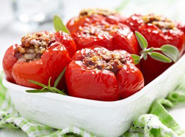 Orzo-Stuffed Baked Peppers