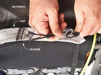 Customizing Car Seat Covers Step 4: Tighten and connect the bungee cords