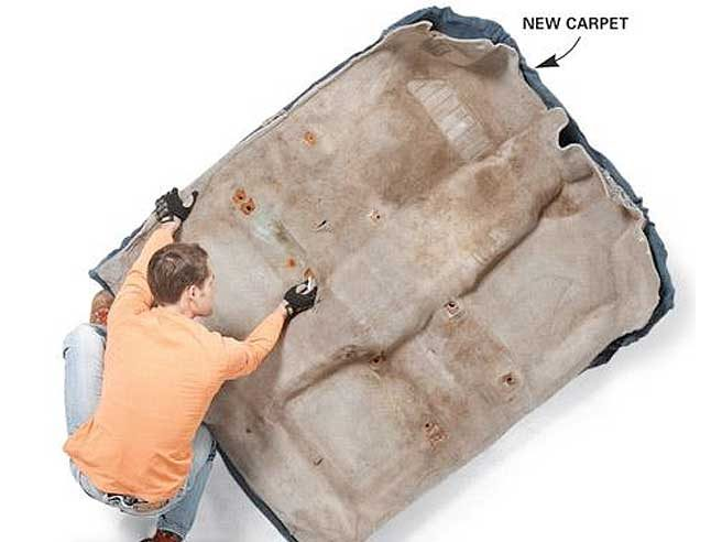 Prep the area and install the new car carpet