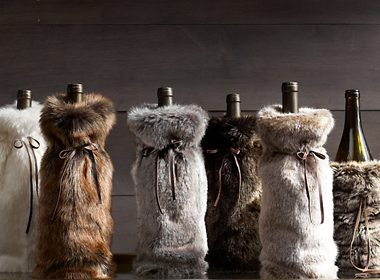 Faux Fur Wine Bag