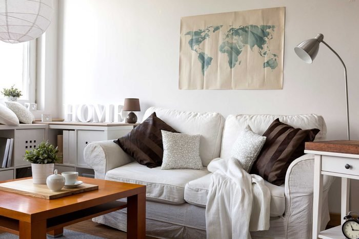 Living room with white sofa