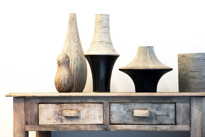 Vases on shelf