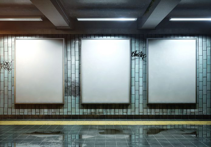 Three billboards in subway
