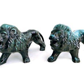 Blue Mountain Pottery lion figures