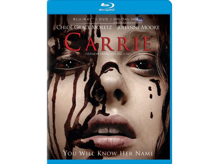 DVD cover for the Carrie remake.