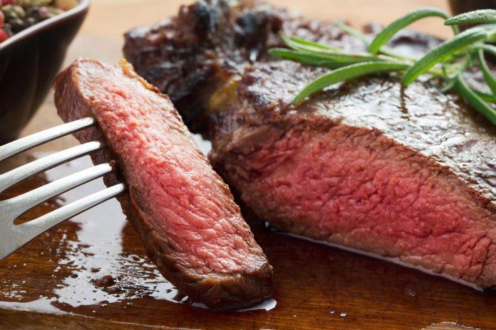 Close-up of rib eye steak