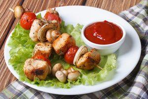Minted Turkey & Mushroom Kebabs