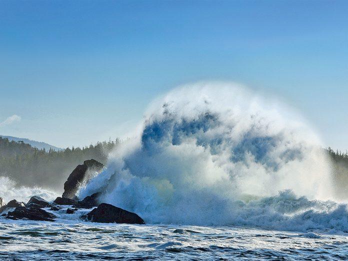 Crashing waves off of British Columbia's Calvert Island