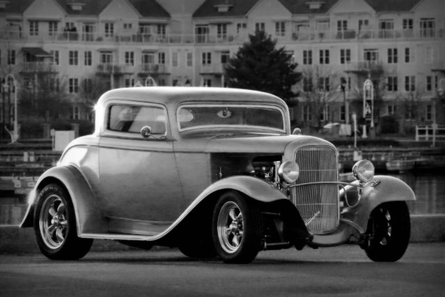 Classic car at waterfront
