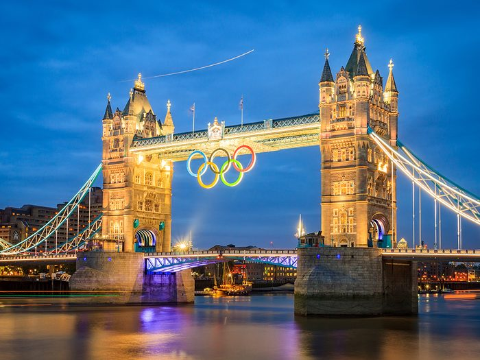 Most famous Olympic games - Tower Bridge with Olympic rings during London 2012 Olympic Games in London on August 6, 2012. Tower Bridge, One of the most famous bridges in the world.