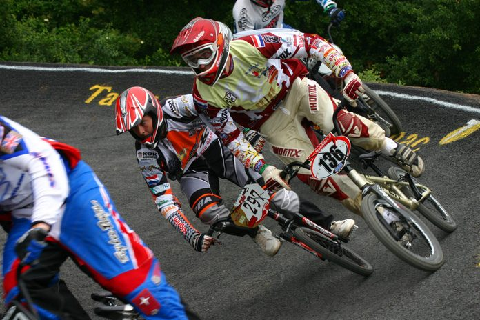 BMX cyclists competing at event