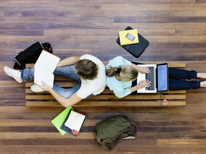 Post-secondary students studying