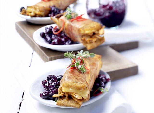 Beer-braise duck sandwiches with wild blueberry dressing