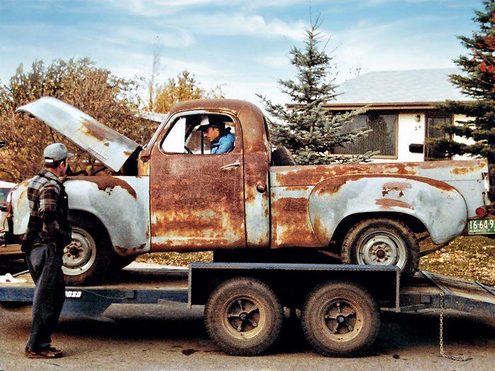 car restoration of old studebaker truck