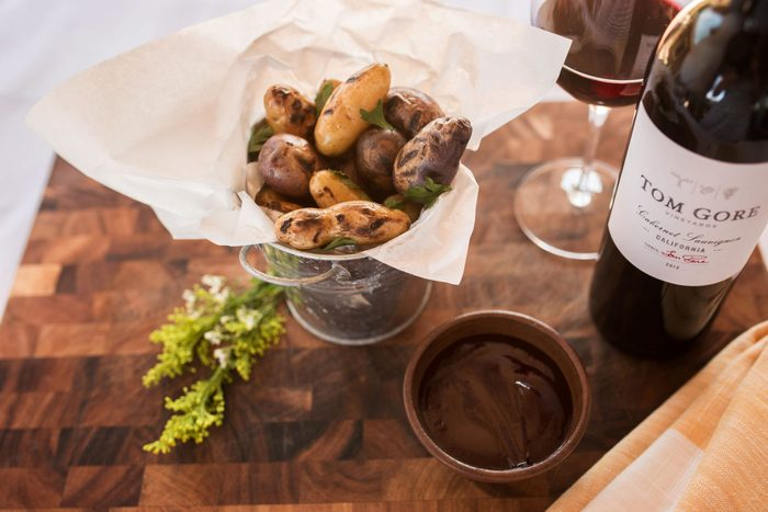 Grilled fingerlings paired with Tom Gore wine