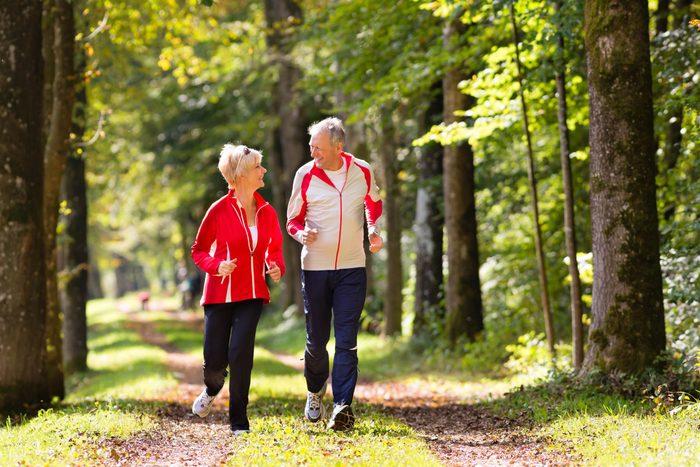 Two seniors running