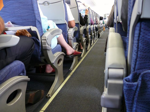 Cramped airplane seating