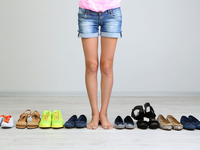 Woman with uneven legs