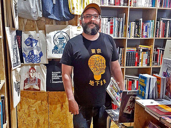 Goyo Villasevil at his Ciudadano Grant bookstore, art gallery and bar.