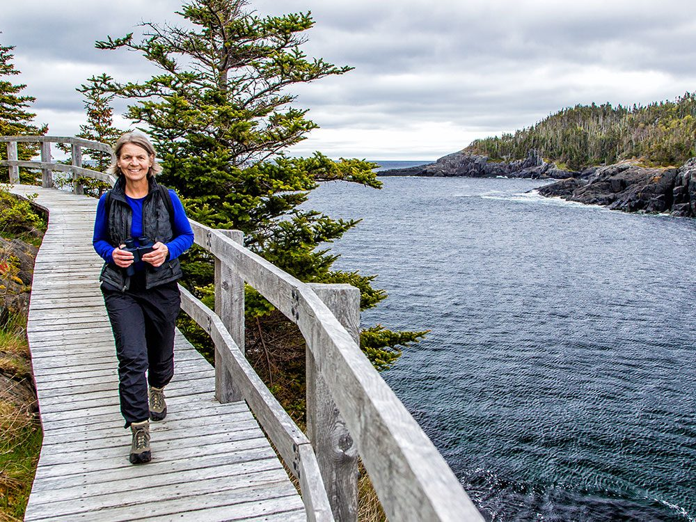 Woman hiking in St. John's, Newfoundland