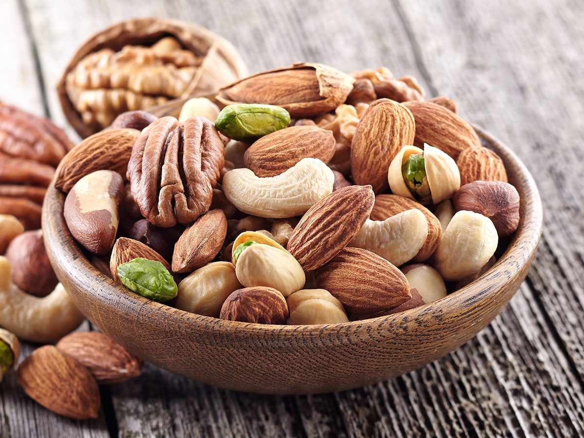 How to improve gut health - bowl of nuts