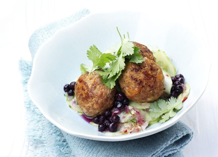 Mini-Meatballs with Wild Blueberry and Cucumber Salad