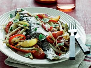 Roasted Trout on Rainbow Vegetables