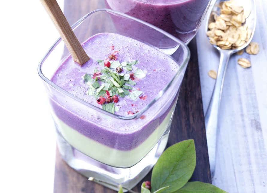 Wild blueberry smoothie with mint leaves