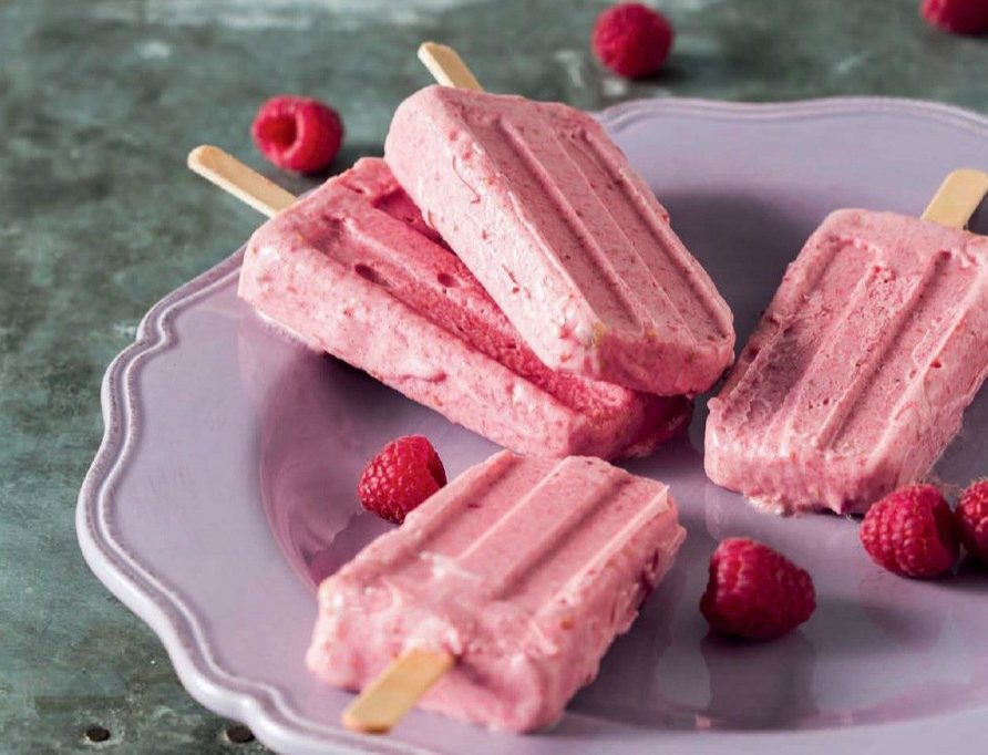 Banana and Raspberry Yogurt Ice Cream