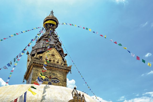 Upper portion of the Boudhanath Temple in Nepal