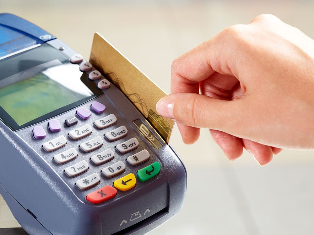 Credit card purchase on POS machine