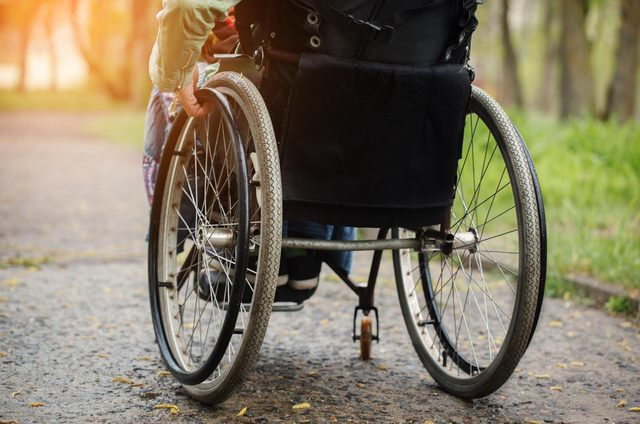 Woman in wheelchair at the park