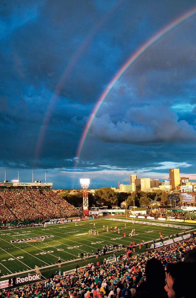 Rainbow photography at football game