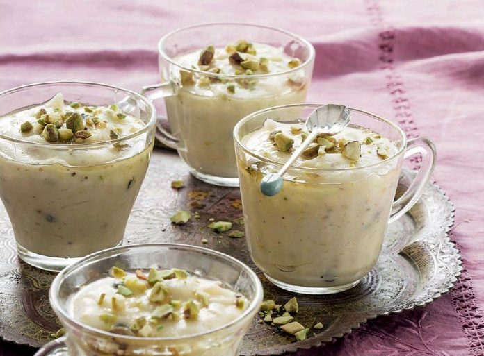 Saffron and Pistachio Puddings with Cardamom and Honey Syrup
