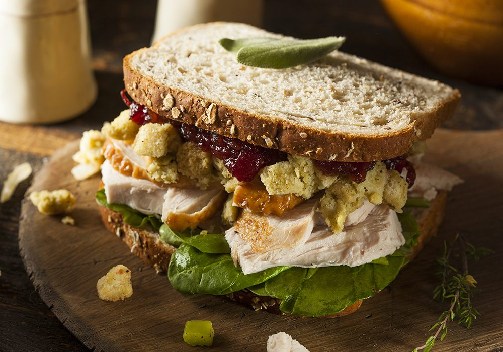 Turkey sandwich made from Thanksgiving leftovers