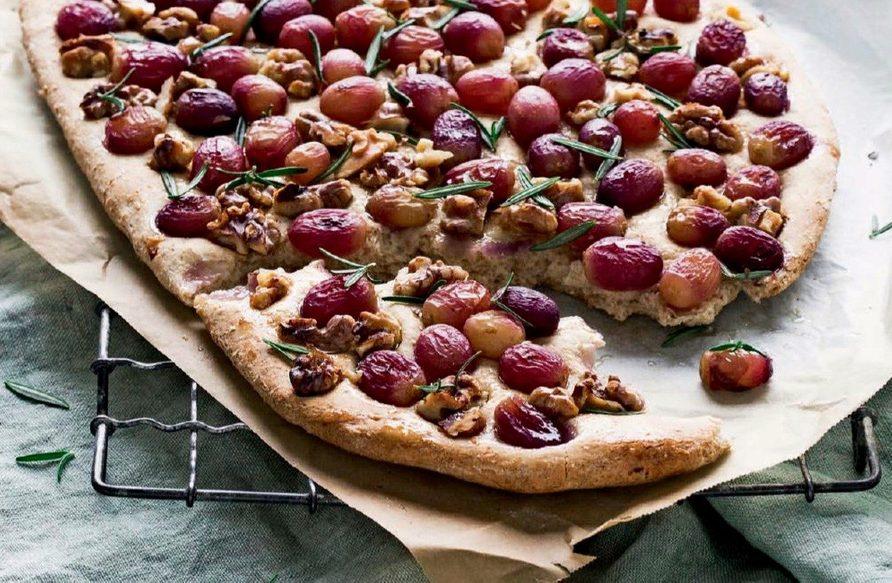 Wholemeal and Walnut Grape Focaccia