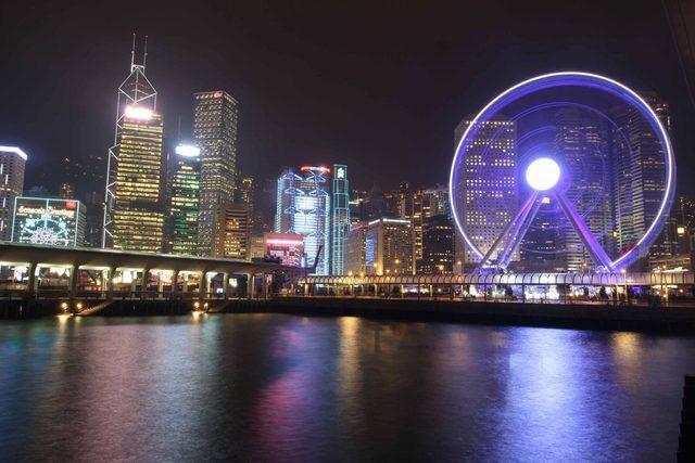 Central Hong Kong district at night